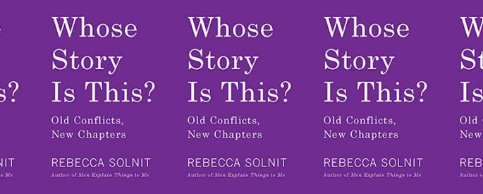 the book cover for Whose Story Is This, featuring the book's title and a purple background