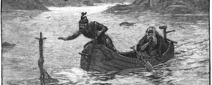 a drawing of two people on a boat next a hand coming out from a lake holding a sword
