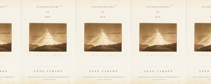 the book cover for Autobiography of Red featuring a photo of an exploding volcano