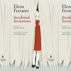 the book cover for Incidental Inventions featuring a girl in a red dress peering out from behind a curtain