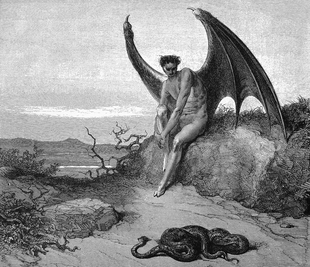 a drawing of a man with wings and cloven feet sitting on a rock next to a pile of snakes