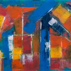 a painting featuring red, orange, and yellow squares on a blue background