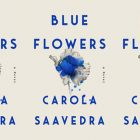 image is a side by side series of the cover of blue flowers