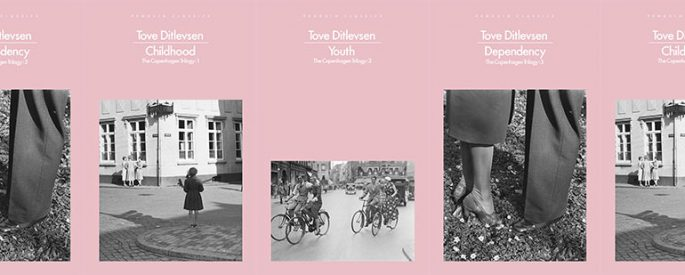 image is a side by side series of the various books of the Copenhagen Trilogy: Childhood, Youth, and Dependency