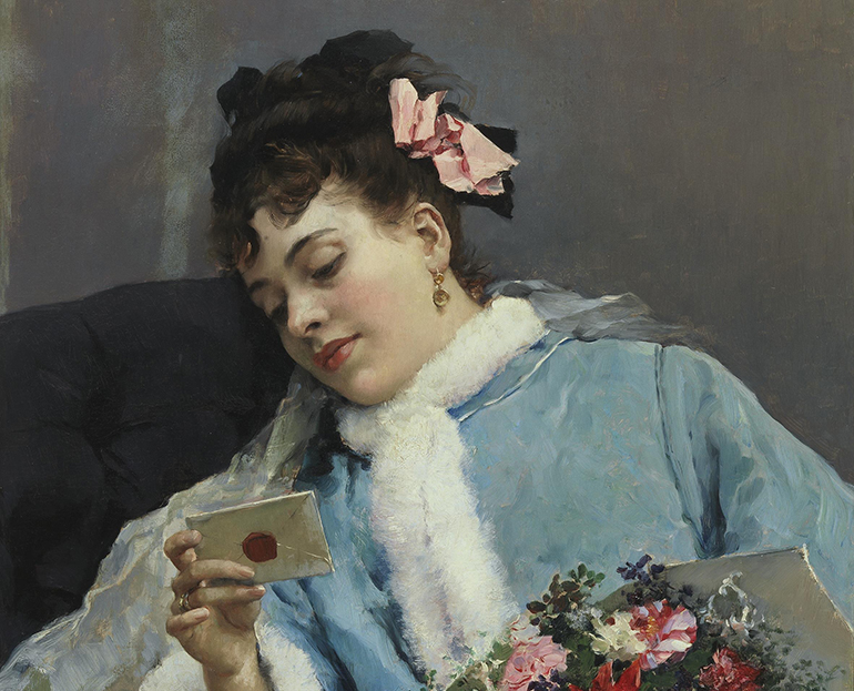 a painting of a woman looking at an unopened letter