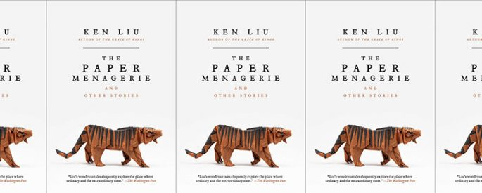 side by side display of the cover of the paper menagerie
