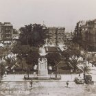 a black and white photograph of a square in Beirut