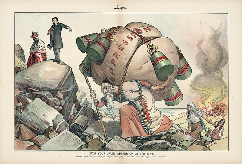 """cartoon with the caption """"stop your cruel oppression of the jews"""" - the image shows a mother with a child feeling a burning village being guided away by an elderly man who carries a large, weighted load labelled """"oppression"""" - a man in a suit and a Russian Czar look on"""