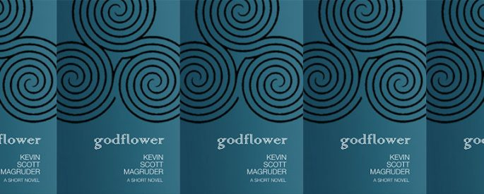 side by side series of the cover of Magruder's Godflower