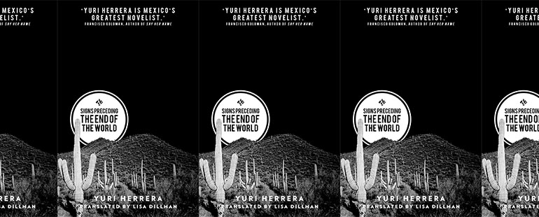 side by side series of the cover of Yuri Herrera's Signs preceding the end of the world, featuring a desert landscape with cacti