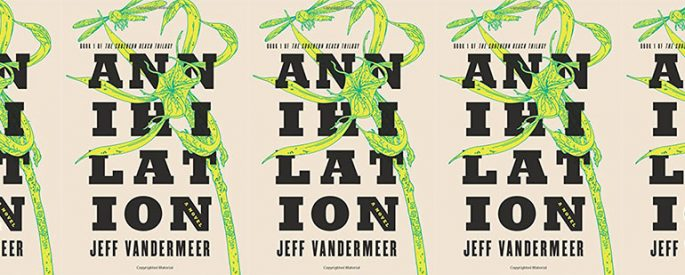 side by side series of the cover of VanderMeer's Annihilation