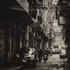 a black and white photograph of the Bourj Hammoud district in Beirut