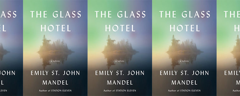 side by side series of the cover of The Glass Hotel