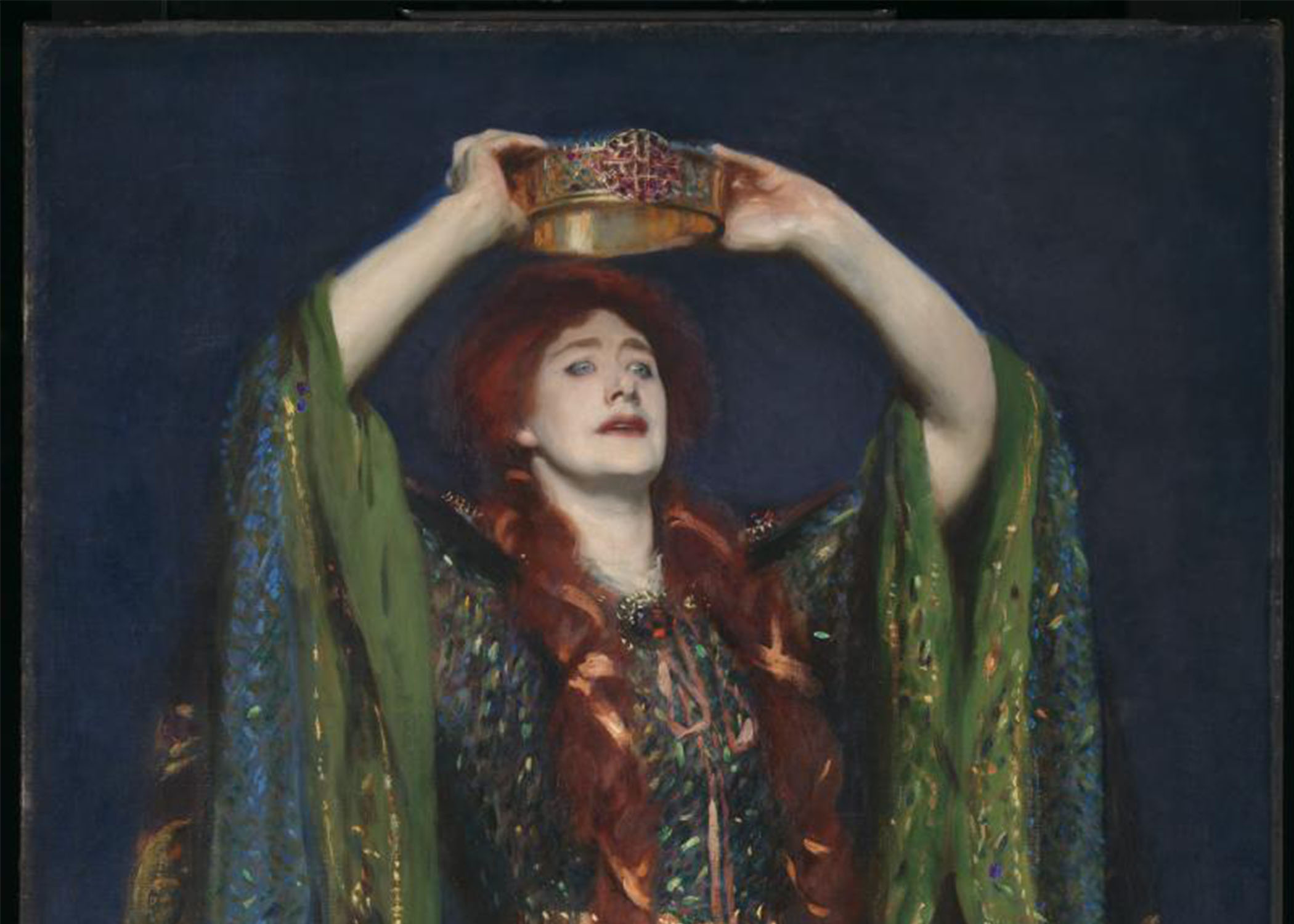 painted portrait of an imagined Lady Macbeth, with long red hair and green robes, arms outstretched, placing a crown on her own head