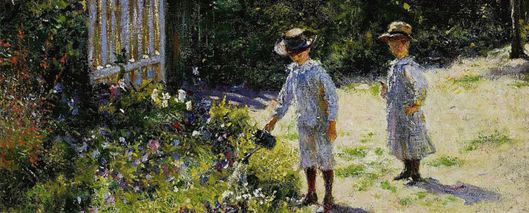 Impressionist painting of two children watering a lush, pastoral garden landscape filled with flowers