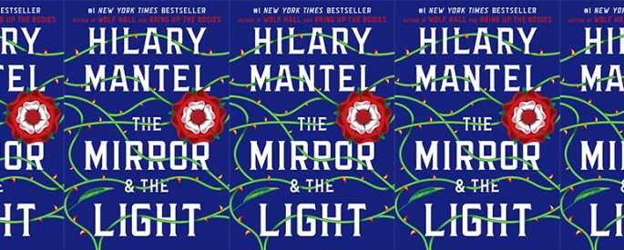 side by side series of the cover of Hilary Mantel's The Mirror and The Light