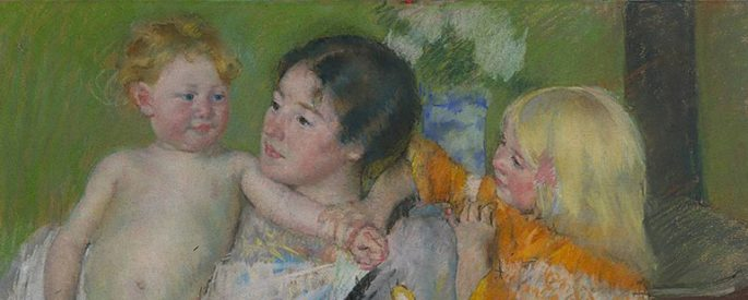 an impressionistic, 1901 painting titled After the Bath by Mary Cassatt depicts a mother and two children--the mother holds a younger baby, while an older child looks on--the mother's face is pensive and serene