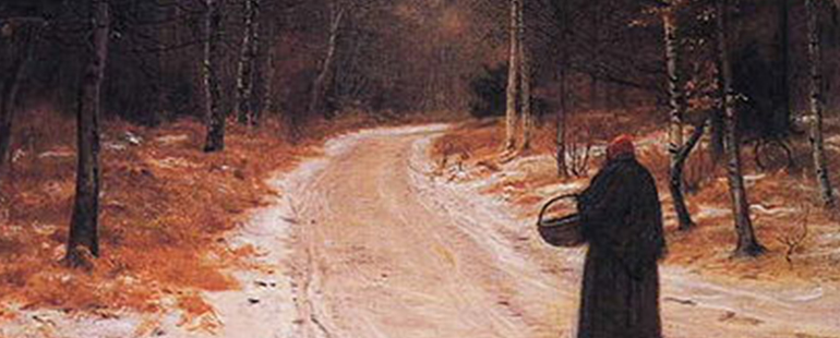 oil painting by John Everett Millais of a figure in a dark overcoat and a red cap carrying a small basket and standing on a road in a the woods in winter at dusk