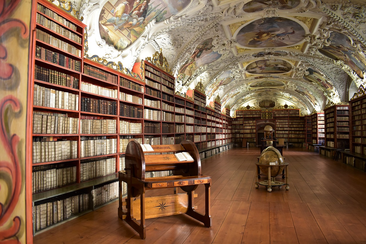 a photograph of a library in a monastery