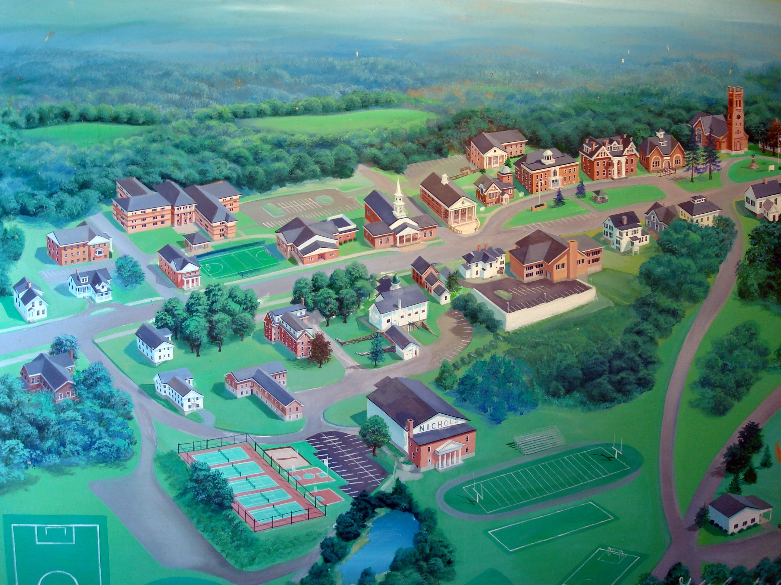 painting of the campus of Nichols College, with a myriad of brick buildings, a football field, and winding paths carved out from a surrounding, green forest
