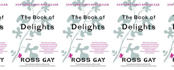 side by side series of the cover of Ross Gay's Book of Delights