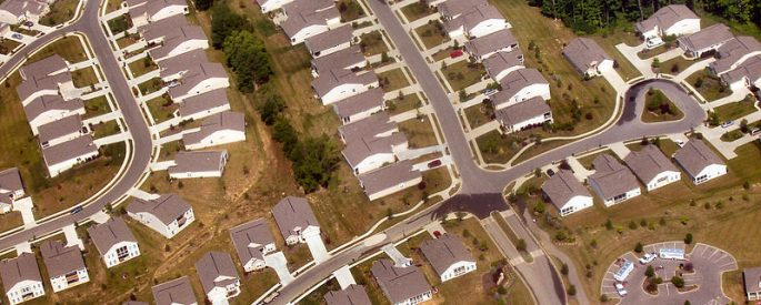 aerial photo of a suburban housing development