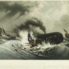 Painting from around 1840 from an unknown author features a dramatic scene against a stormy gray sky of a group of whalers