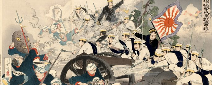 an illustration of the battle of Pyongyang by the artist Mizuno To in traditional Japanese illustration style