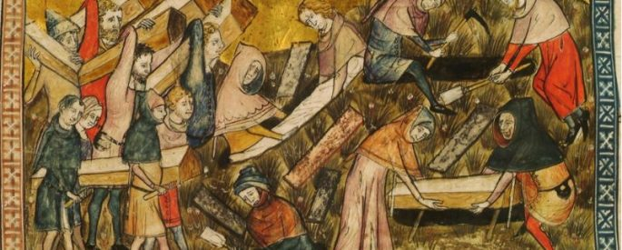 a medieval piece of art illustrating various figures preparing for the burials of victims of the black plague