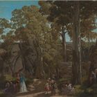 "William Ford's painting ""At the Hanging Rock Mt. Macedon""--a realist painting of a scene of rugged wilderness populated by school children in victorian dress"
