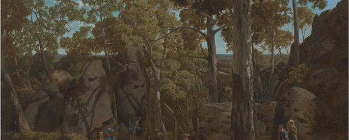 """William Ford's painting """"At the Hanging Rock Mt. Macedon""""--a realist painting of a scene of rugged wilderness populated by school children in victorian dress"""