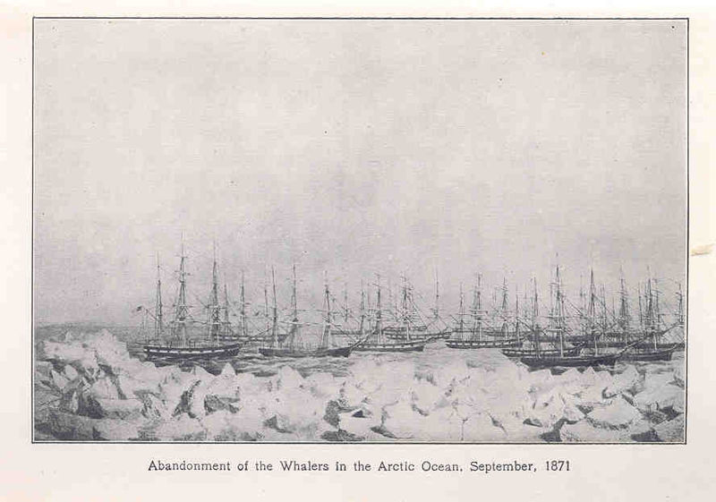"illustration of a group of whaling ships on the Arctic Ocean, with a caption that reads: ""Abandonment of the Whalers in the Arctic Ocean, September, 1871"""