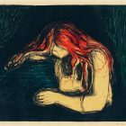 The Vampire II by Edvard Munch, depicting a man and woman against a dark background, the man bent over, his face obscured as the woman's bright red hair is draped across his head and neck