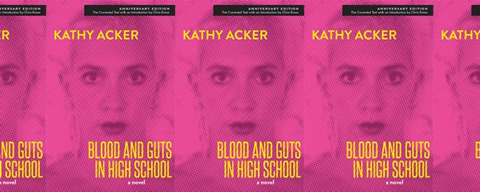 side by side series of the cover of Blood and Guts in High School