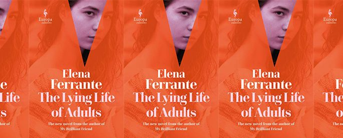side by side series of the cover of Ferrante's The Lying Life of Adults