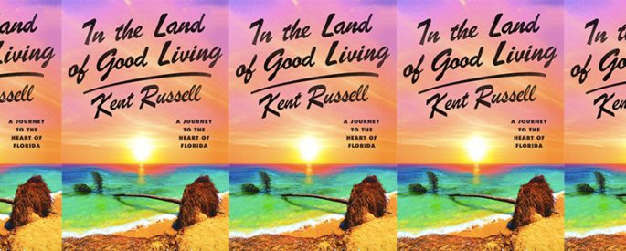side by side series of the cover of In the Land of Good Living by Kent Russell which features an overturned palm tree that has crashed into the shallows of an ocean--the title is set against a highly saturated sunset