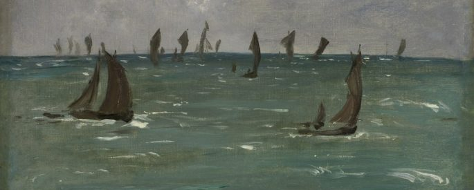 "an oil painting by Manet: ""Boats at Berck-sur-Mer"""