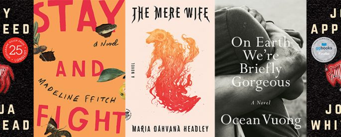 side by side series of the covers of On Earth We're Briefly Gorgeous, The Mere Wife, Stay and Fight, and Jonny Appleseed