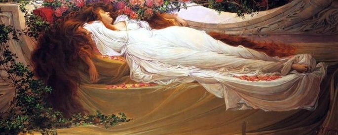 oil painting of a woman in a white dress reclining, asleep against a rosebush