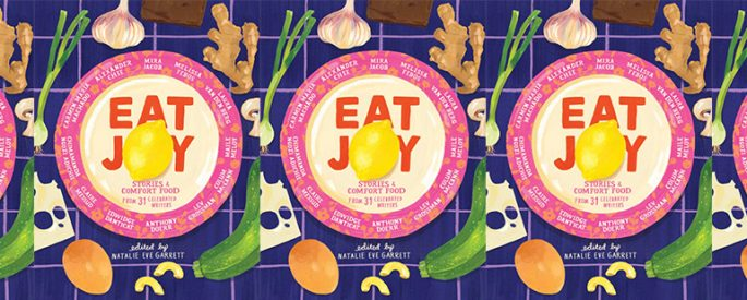 side by side series of the cover of Eat Joy