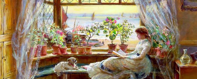 "the painting ""Reading by the Window"" by Charles James Lewis--depicts a woman seated leisurely with her small dog on a chaise by an open window, beyond her are sail boats on a body of water"