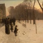 a painting of Boston covered in snow with a woman and two children in the foreground