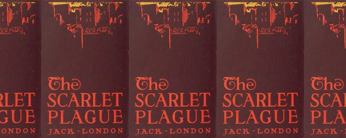 side by side series of the cover of The Scarlet Plague