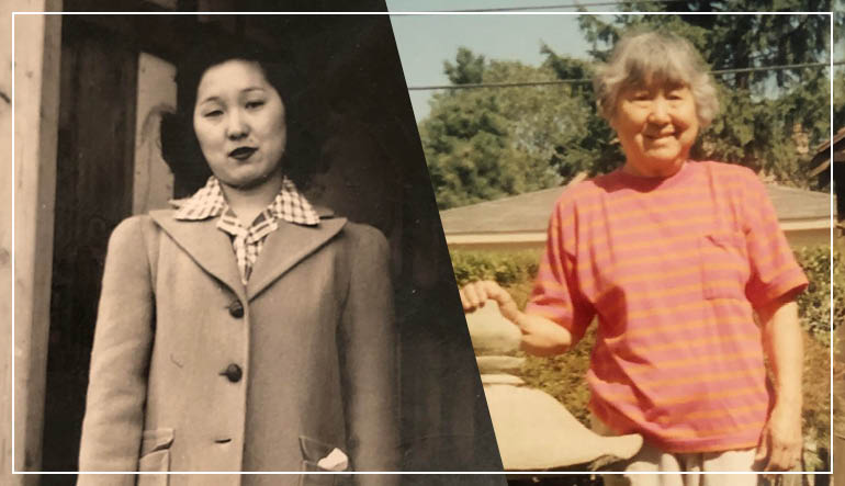 two images of the writer's grandmother side by side, one a sepia photograph of the grandmother as a young woman at Heart Mountain Concentration Camp, the other of the grandmother much later, as an older woman, wearing a striped pink shirt in a full-color photograph