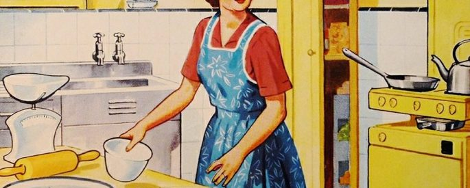 a vintage illustration of the 50s housewife clad in a blue apron, baking in the kitchen