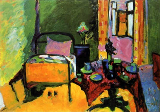a brightly colored painting of a bedroom by Wassily Kandinksy featuring a wrought iron bed, a small table, and bright mustard yellow floors