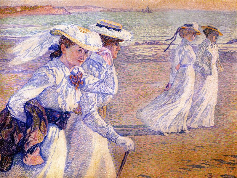 Theo van Rysselberghe - Women Walking on the Beach