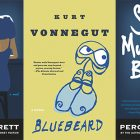 side by side series of the covers of So Much Blue and Bluebeard