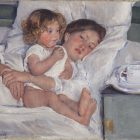 painting of a woman in bed, holding a small child who sits up, perched at the edge of the side table is a cup on a saucer