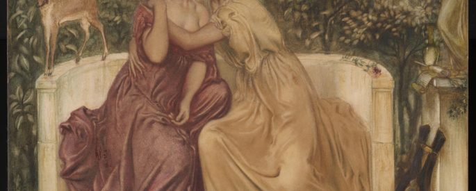 the painting: Sappho and Erinna in a Garden at Mytilene